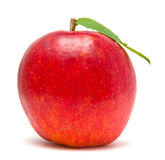 Red apple with green leaf Stock Images