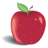 Red apple with green leaf Royalty Free Stock Image