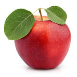 Red apple with green leaf isolated on white royalty free stock photos