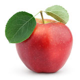 Red apple with green leaf isolated on white Stock Photography
