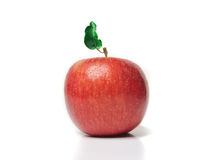 Red apple with green leaf on white Stock Images
