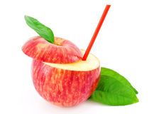 Red apple and green leaves Royalty Free Stock Photos