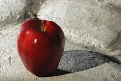 Red Apple on Grey Pavement. A healthy red apple on a grey stone pavement Royalty Free Stock Photo