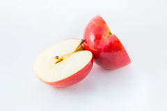 Red apple half cut. Red apple isolated on white background cutout stock image