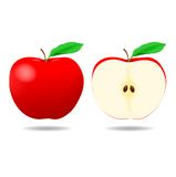 Red Apple and a half - Illustration Royalty Free Stock Photos