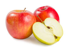 Red apple with half Royalty Free Stock Photo