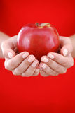 Red apple in hand Stock Photo