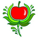 Red apple. Hand drawn, , illustration in Ukrainian folk style Stock Images