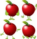 Red apple with hands an legs - vector cartoon Royalty Free Stock Images