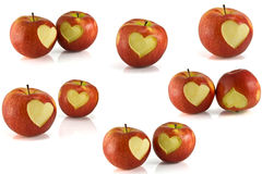 Red apple with heart on it Royalty Free Stock Images