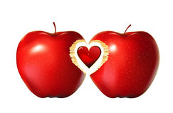 Red apple heart stock images