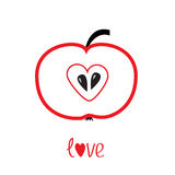 Red apple with heart shape. Love vector card. Royalty Free Stock Images