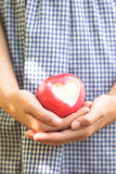 Red apple with heart shape Royalty Free Stock Photo