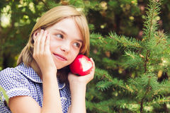 Red apple with heart shape Royalty Free Stock Photography