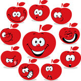 Red apple icon cartoon with funny faces Royalty Free Stock Photos