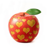 Red apple isolated with hearts Stock Image