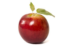 Red Apple Isolated. Isolated red apple with leaf Royalty Free Stock Photo