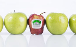Red apple isolated and weight measurement meter. Diet concept Royalty Free Stock Photos