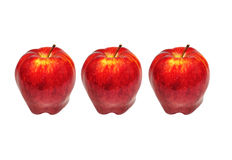 Red Apple Isolated on White. Three Red Apples Isolated on White royalty free stock photography