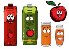 Red apple juice cartoon characters Stock Photography