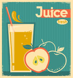 Red apple juice on old paper.Vector vintage card Royalty Free Stock Photography