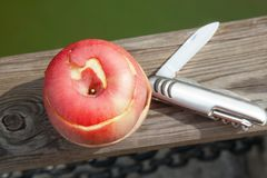 Red apple and knife Stock Image
