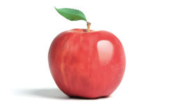Red Apple with Leaf Royalty Free Stock Photography