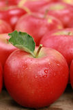 Red apple with a leaf Stock Images