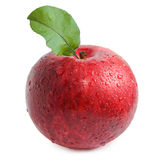 Red apple with leaf isolated on white Stock Image