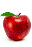 Red apple with leaf isolated on white background. Ripe red apple on a white background Royalty Free Stock Photo