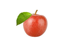 Red apple with leaf isolated on white background Stock Photography