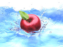 Red apple with leaf, splashing into water. Stock Photography