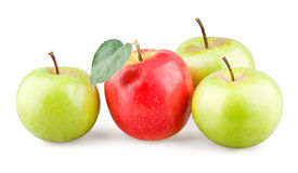 Red apple with leaf and three green apples around. On white background royalty free stock images