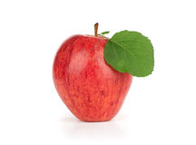 Red apple with leaf Stock Photo