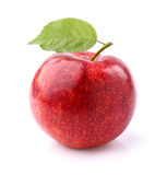 Red apple with leaf Stock Photos