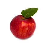 Red apple with a leaf on a white background Stock Images