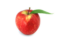 Red apple with leaf on white Stock Image