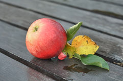 Red Apple with Leaves on Wooden Table Royalty Free Stock Image