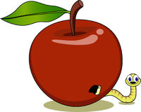 Red apple and maggot cartoon Stock Photo