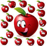 Red apple. With many expressions Stock Photography