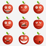Red apple with many expressions Royalty Free Stock Photography