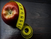 Red apple with measurement Stock Photo