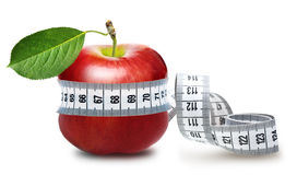 Red apple with measurement Royalty Free Stock Image