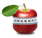 Red apple with measurement Stock Photos