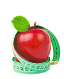 Red apple with measurement Royalty Free Stock Photos