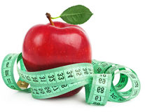 Red apple with measurement Royalty Free Stock Images