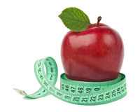 Red apple with measurement Royalty Free Stock Photo