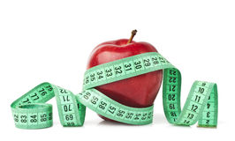 Red apple with measurement Royalty Free Stock Photography