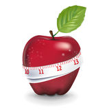Red apple with measuring tape isolated Stock Image