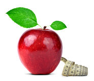 Red apple with measuring tape Stock Image
